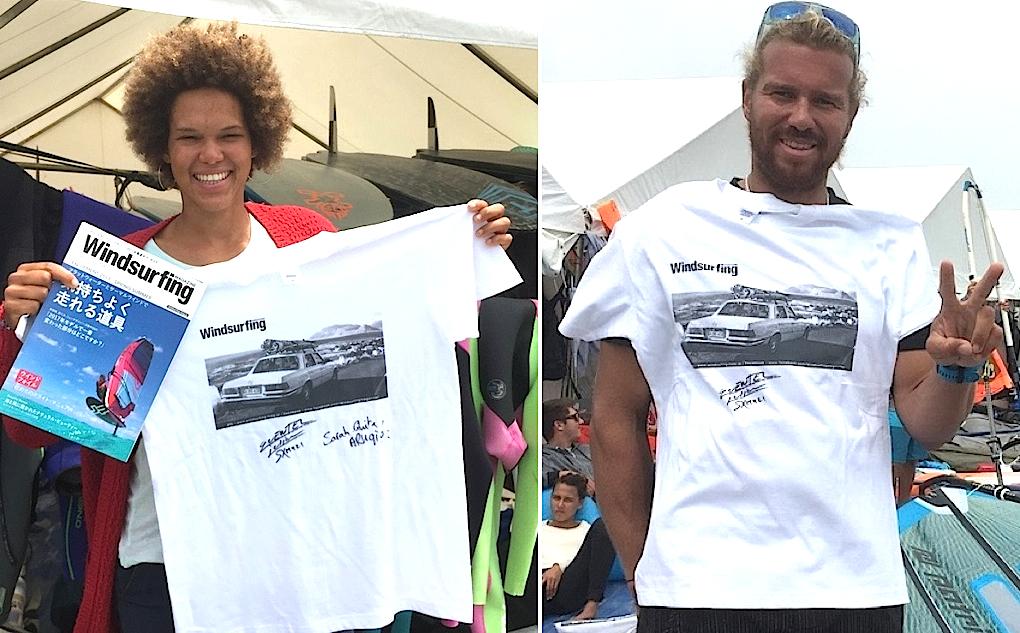 サラキタ・オフリンガ(左)とジュリエン・クエステル(右) 今季ツアーの最初のレースを制した二人のサイン入りT-シャツです。 保管しておいて、来年の優勝者にもサインをもらうというのもいいかもしれませんね。