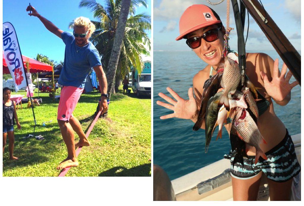 (左)ジュリエン・クエンテル。スラックラインで体幹強化。 (右)鈴木文子プロ。水中銃で大漁・・・だったおじさんの威を借りて。