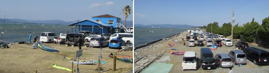 休日には各地からウインド乗りが集まる。風を求める人同士、連帯感に包まれてウインドサーフィンを楽しめる。