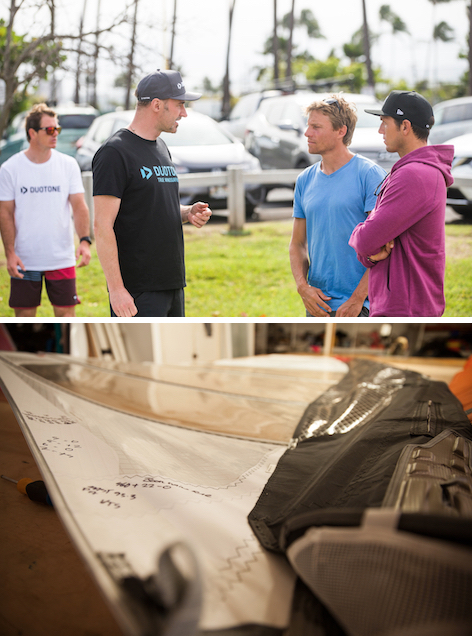 Upper=Klaas Voget(G-4)discusses new products with Raoul Joa and Victor Fernandez(E-42) Lower=Duotone Windsurfing Sail Prototype