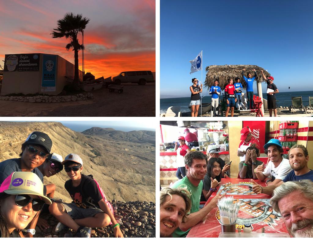 (左上から時計回りに)大会名は『IWT Baja Desert Showdown』周りはただただ砂漠のみ/日本の少年たちも大活躍。生駒篤樹、ユースクラスで優勝/世界のスーパースターたちとランチタイム。ささやかなひとときさえ非日常に/ウェイブ修行に来ていた日本のウインドキッズ、生駒篤樹、松井晴、石井颯太くんと。この年代で同じ経験がしたかった。