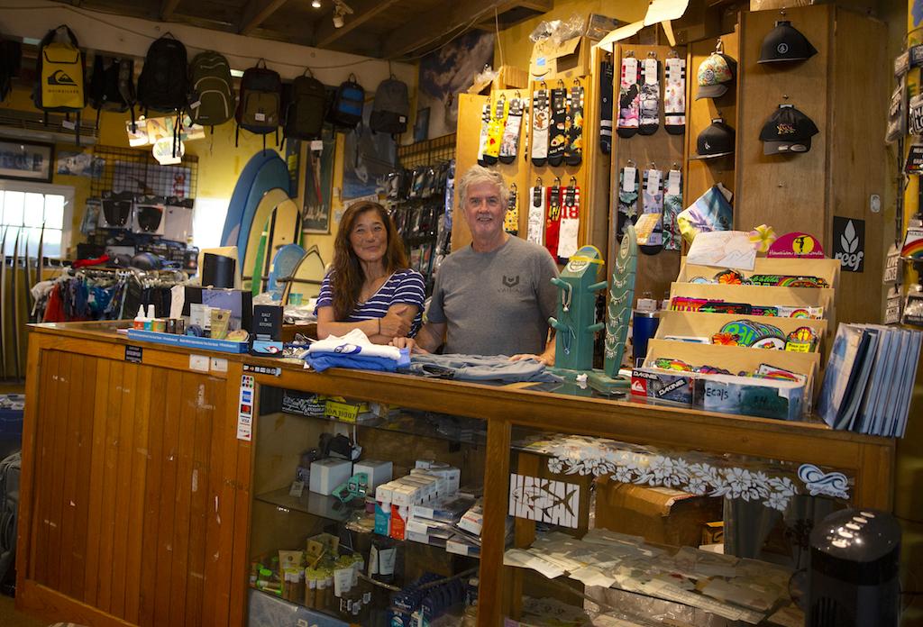 Dave and Mariko Mel at Sailboards Maui Store, Paia Town, Maui_April 22, 2020 / ⒸDarrell Wong