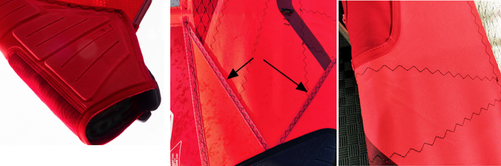 ❷ THERMOFORMED TACK FAIRING|❸ SEAM PROTECTION PANELS|❹ CAM AREA REINFORCEMENT